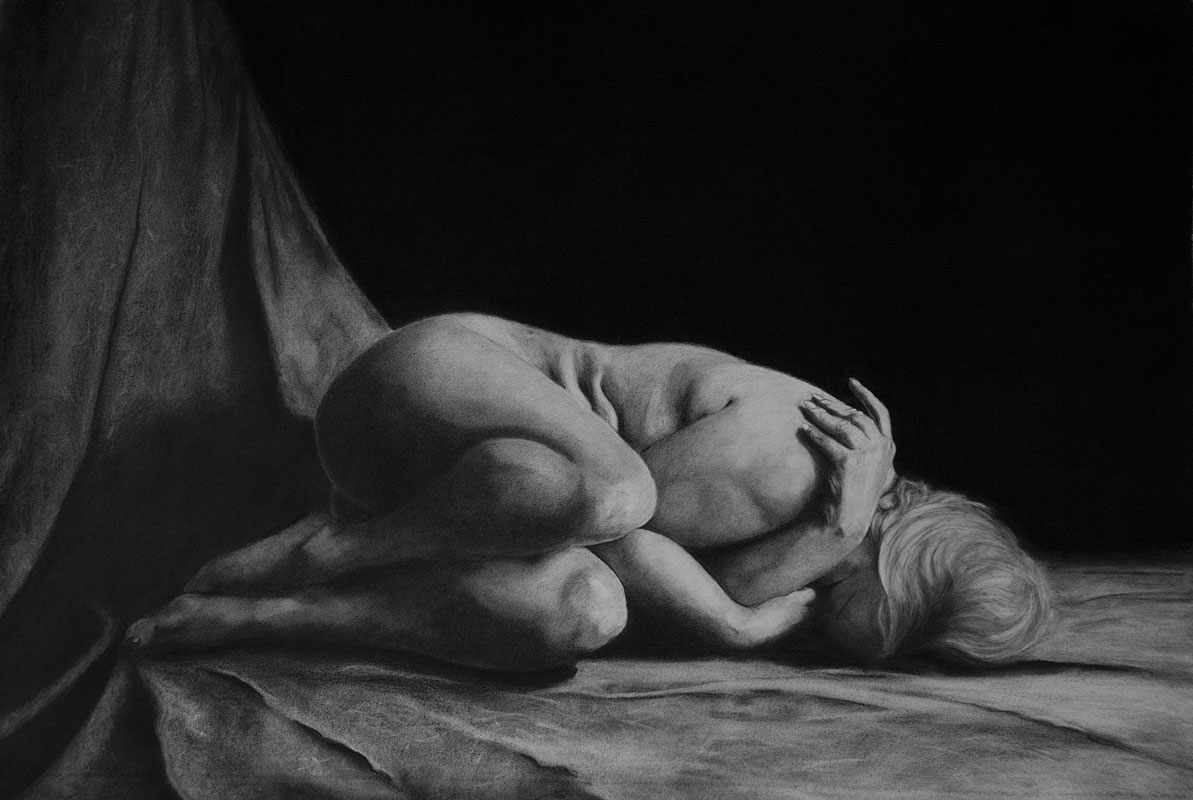 charcoal drawing of nude woman