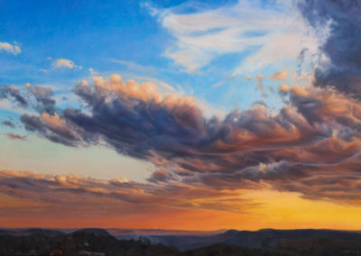 Solitary Sunset – view from the Carrington Hotel Lounge looking over Katoomba towards Mt Solitary